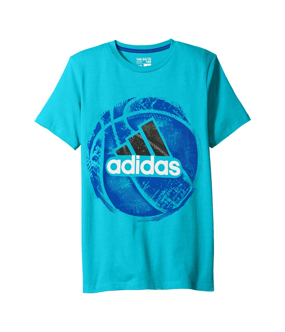 adidas Kids Field and Court Tee (Big Kids) (Turquoise) Boy