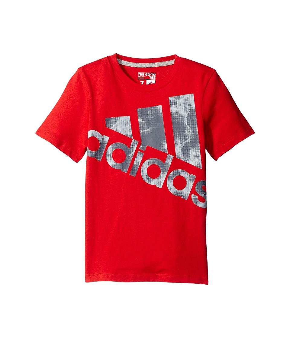 adidas Kids Smokescreen Logo Tee (Big Kids) (Red) Boy