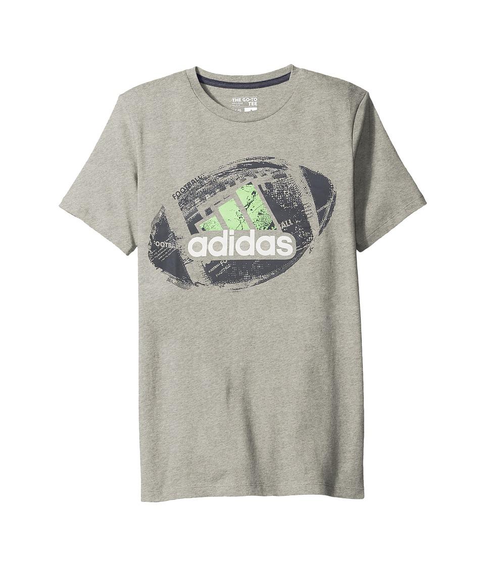 adidas Kids Field and Court Tee (Big Kids) (Light Grey/Green) Boy