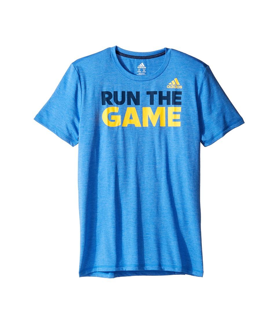adidas Kids Run the Game Tee (Big Kids) (Medium Blue) Boy