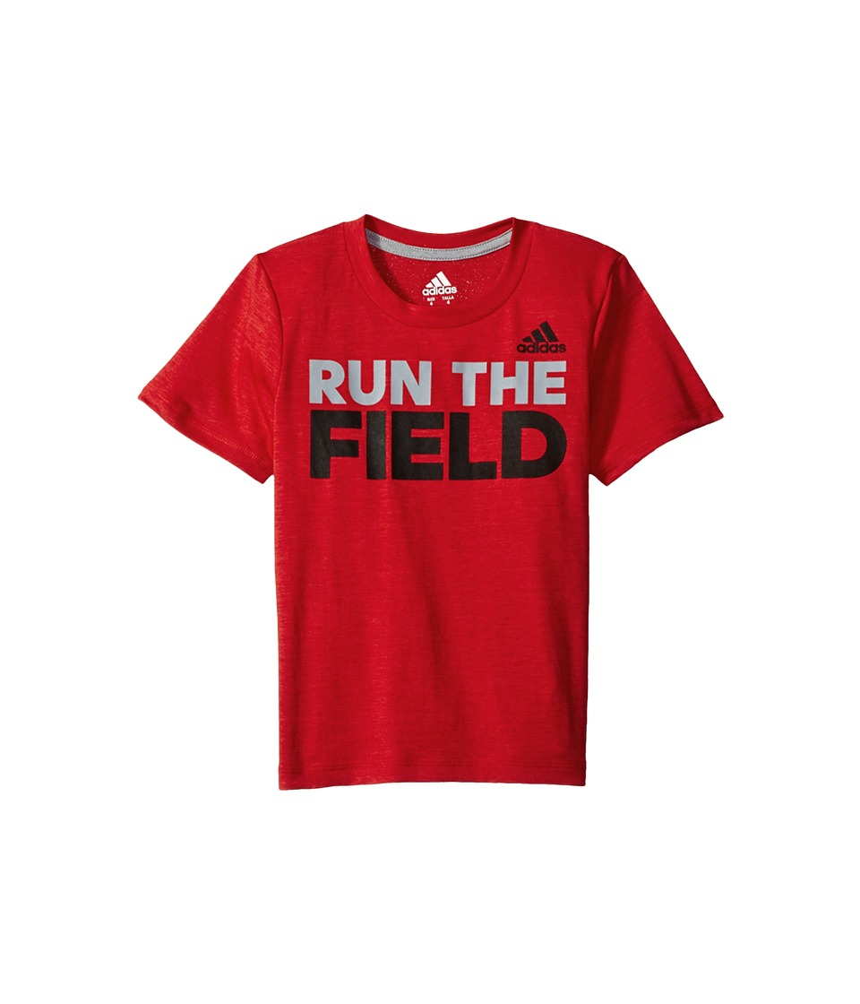 adidas Kids Run the Game Tee (Big Kids) (Red) Boy