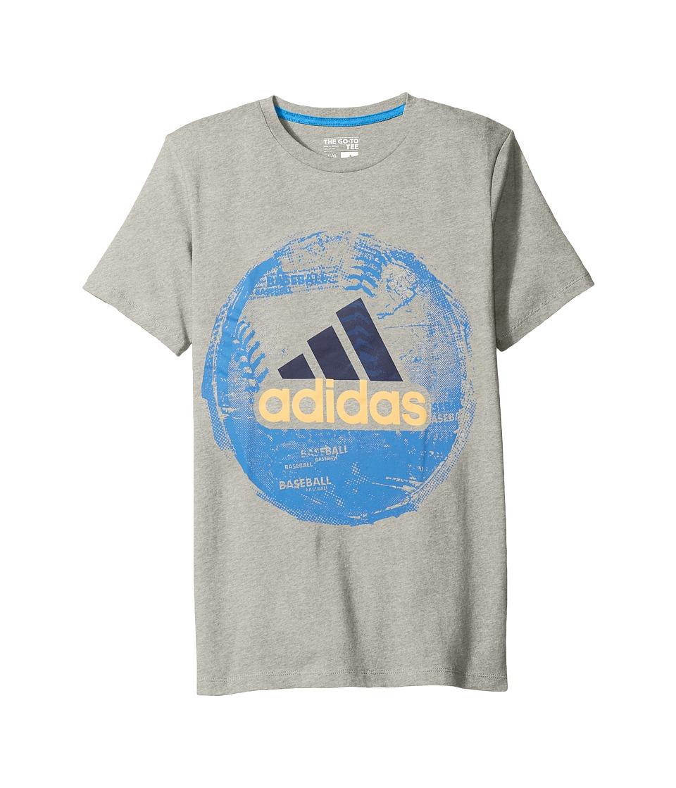 adidas Kids Field and Court Tee (Big Kids) (Grey) Boy