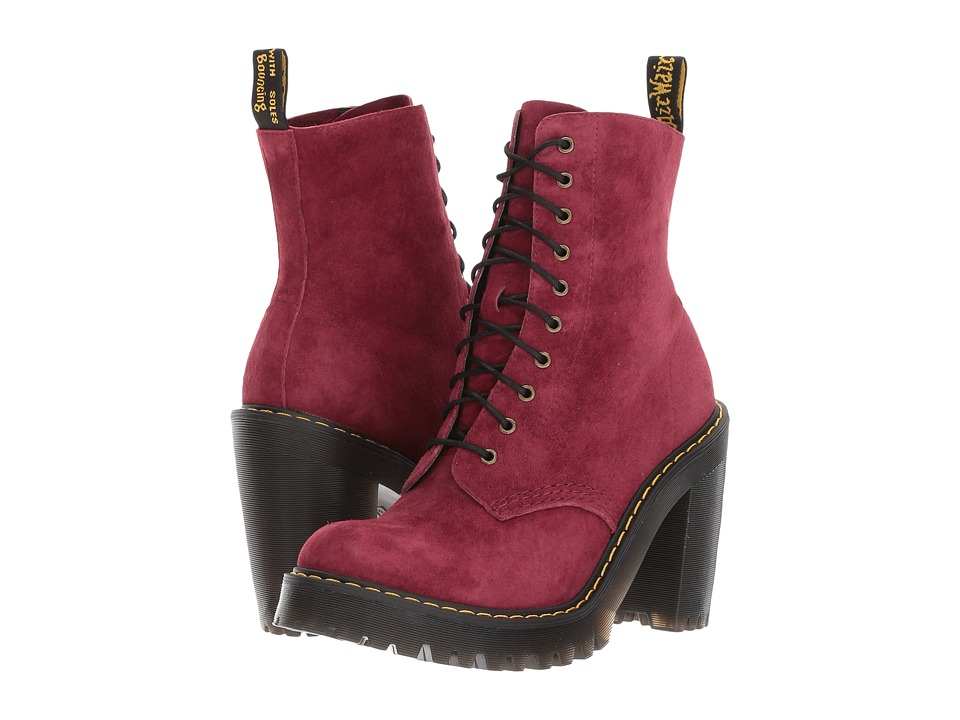 Dr. Martens Kendra 10-Eye Boot (Wine Soft Buck) Women