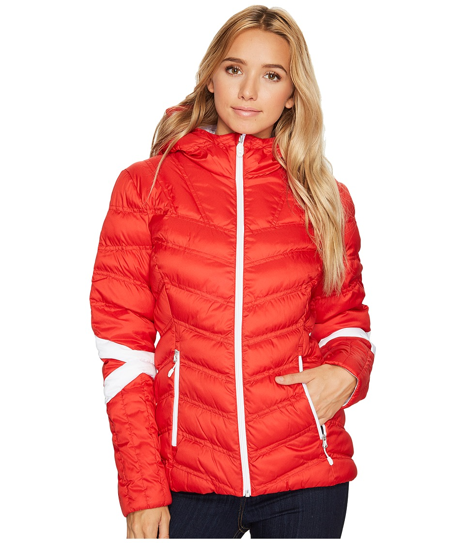 Spyder Vintage Hoodie Synthetic Down Jacket (Red/White) W...