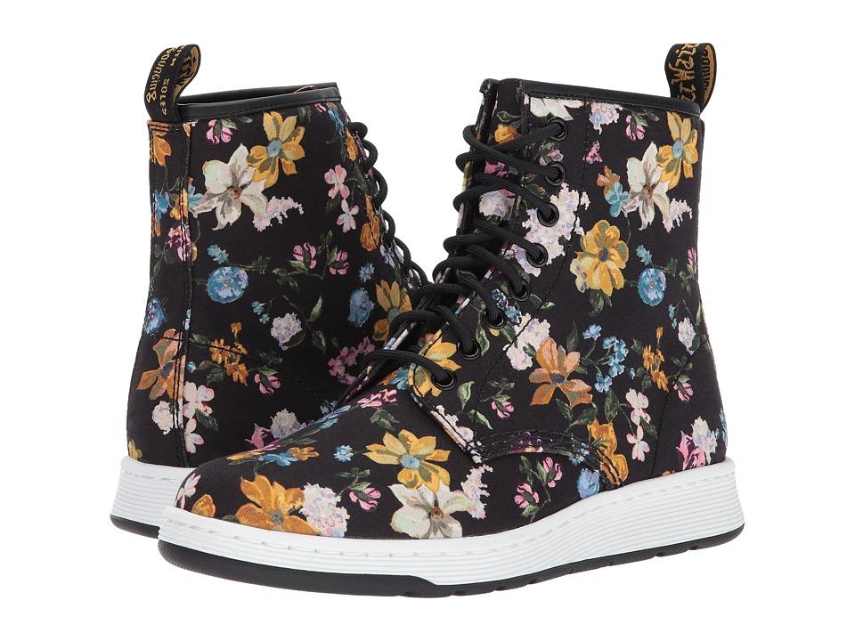 Dr. Martens Darcy Floral Newton 8-Eye Boot (Black Darcy Floral Fine Canvas) Women