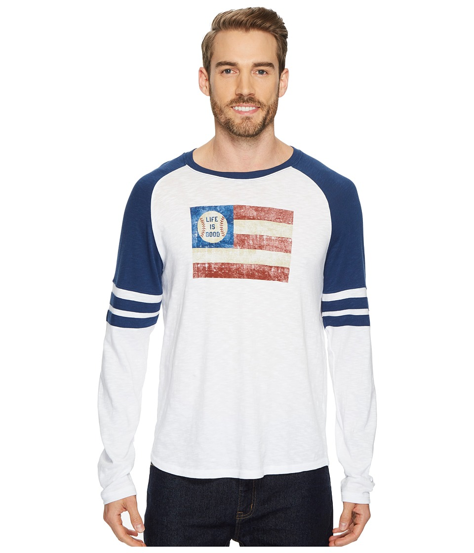 Life is Good Baseball Flag Vintage Sport Long Sleeve (Cloud White) Men