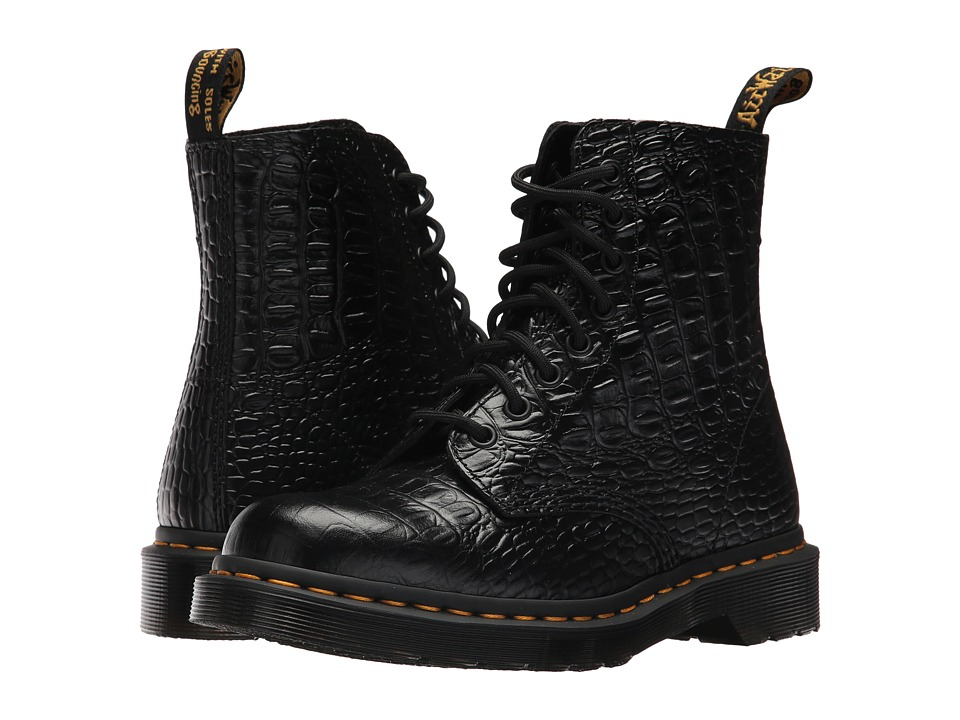 Dr. Martens Pascal Croco 8-Eye Boot (Black New Vibrance Croco) Women