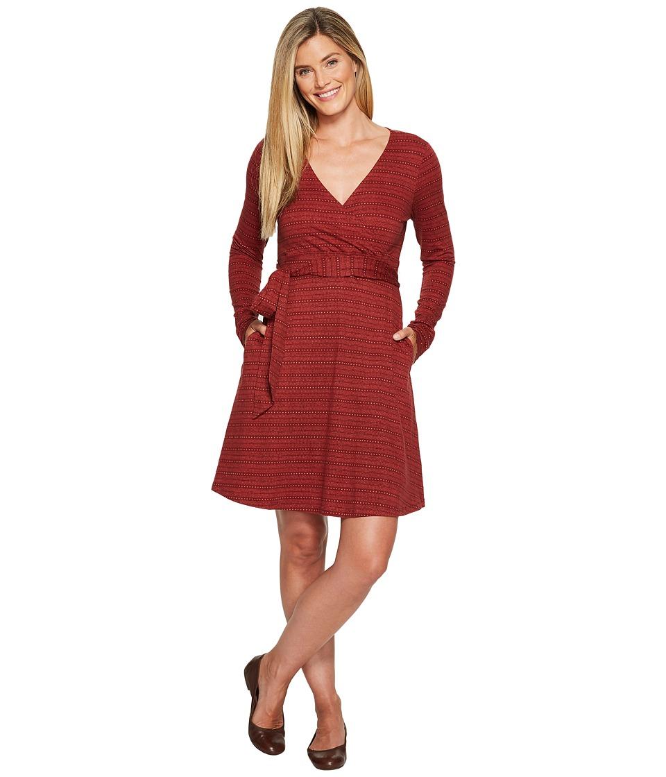 Toad&Co Cue Wrap Dress (Mahogany Dot Print) Women