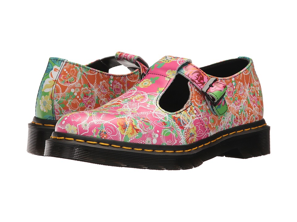 Dr. Martens Polley Daze T-Bar (White Backhand/Daze Print) Women