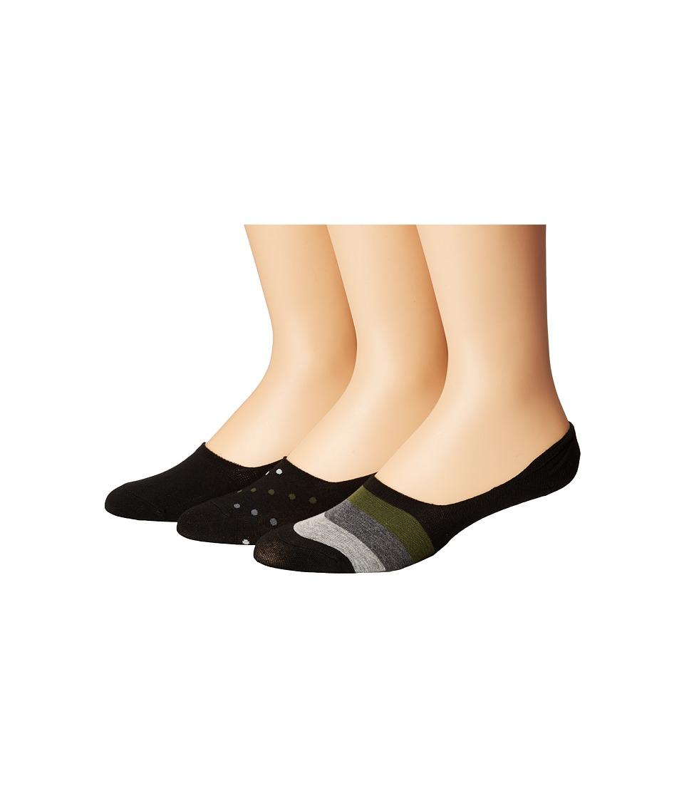 Steve Madden 3-Pack Shoe Liners Stripes (Black/Dot) Men