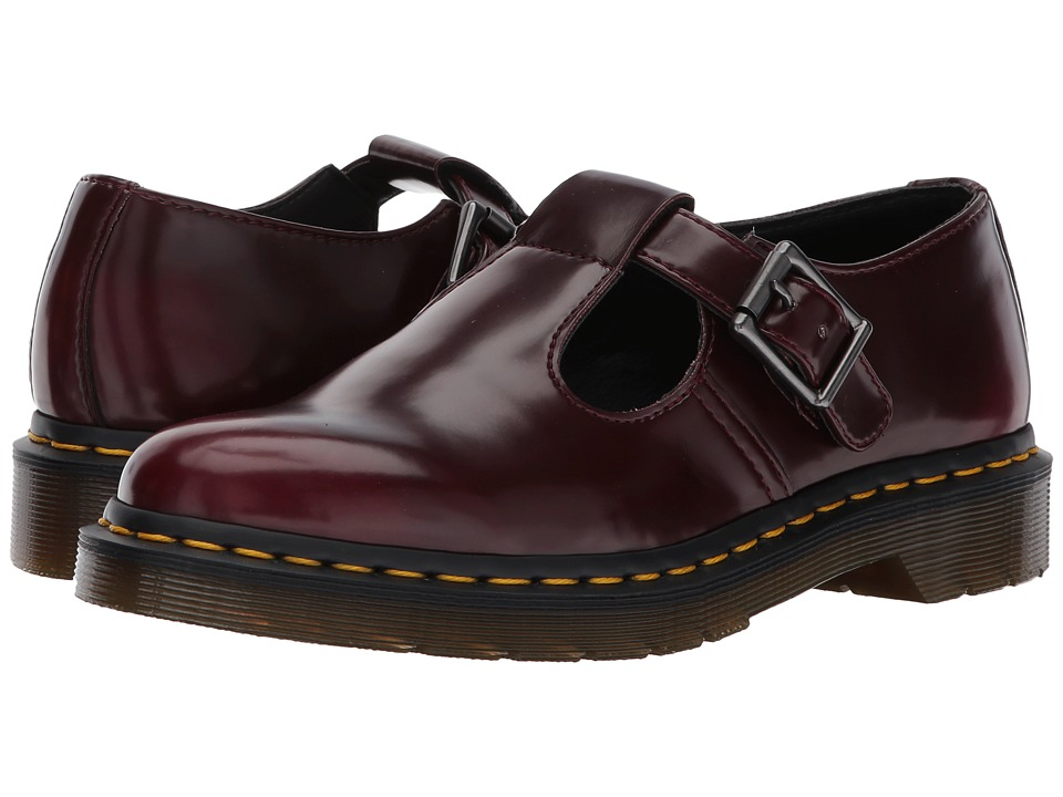 Dr. Martens Vegan Polley T-Bar Mary Jane (Cherry Red Cambridge Brush) Women
