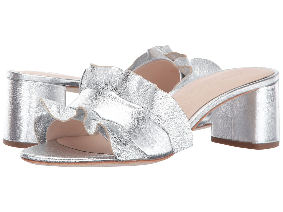 Loeffler Randall Vera Ruffle Sandal Mule (Silver Metallic Leather) Women's Shoes