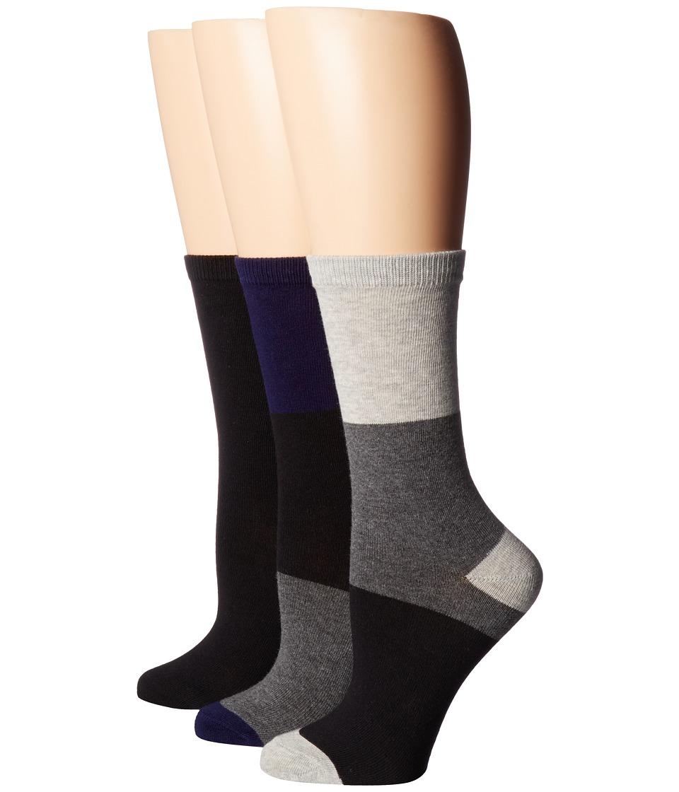 Steve Madden - 3-Pack Pattern Crew Socks (Color Block) Women's Crew Cut Socks Shoes