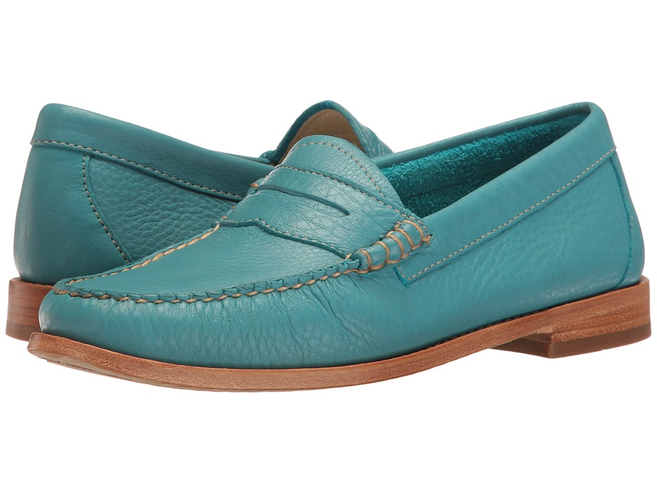 1960s Mens Shoes- Retro, Mod, Vintage Inspired G.H. Bass amp Co. - Whitney Weejuns Teal Soft Tumbled Leather Womens Shoes $110.00 AT vintagedancer.com