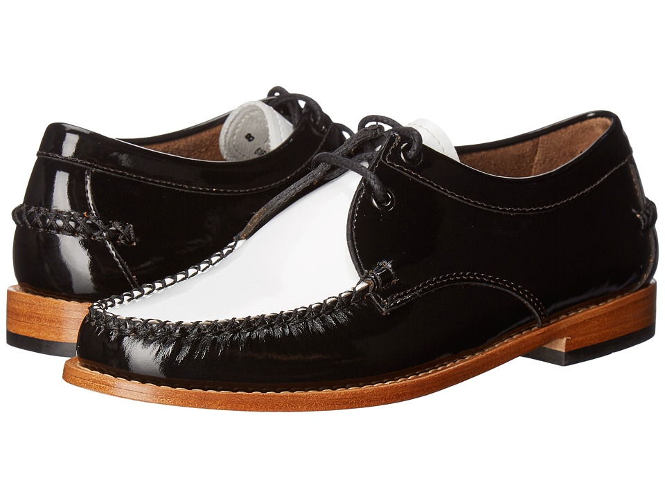 1940s Style Mens Shoes G.H. Bass amp Co. - Winnie Weejuns BlackWhite Patent Leather Womens Shoes $120.00 AT vintagedancer.com