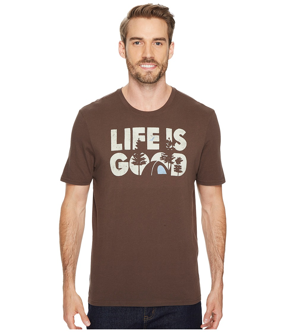 Life Is Good r) Campground Smooth Tee (Rich Brown) Men's ...