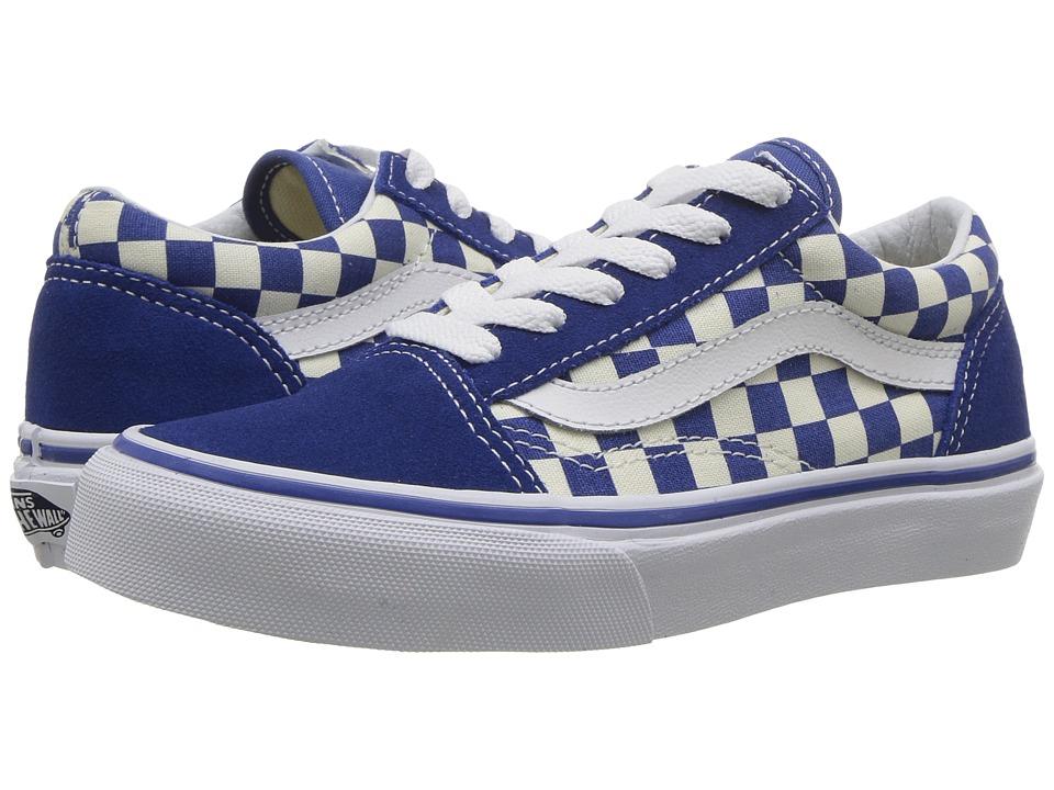 Vans Kids Old Skool (Little Kid/Big Kid) ((Primary Check) True Blue/White) Kid