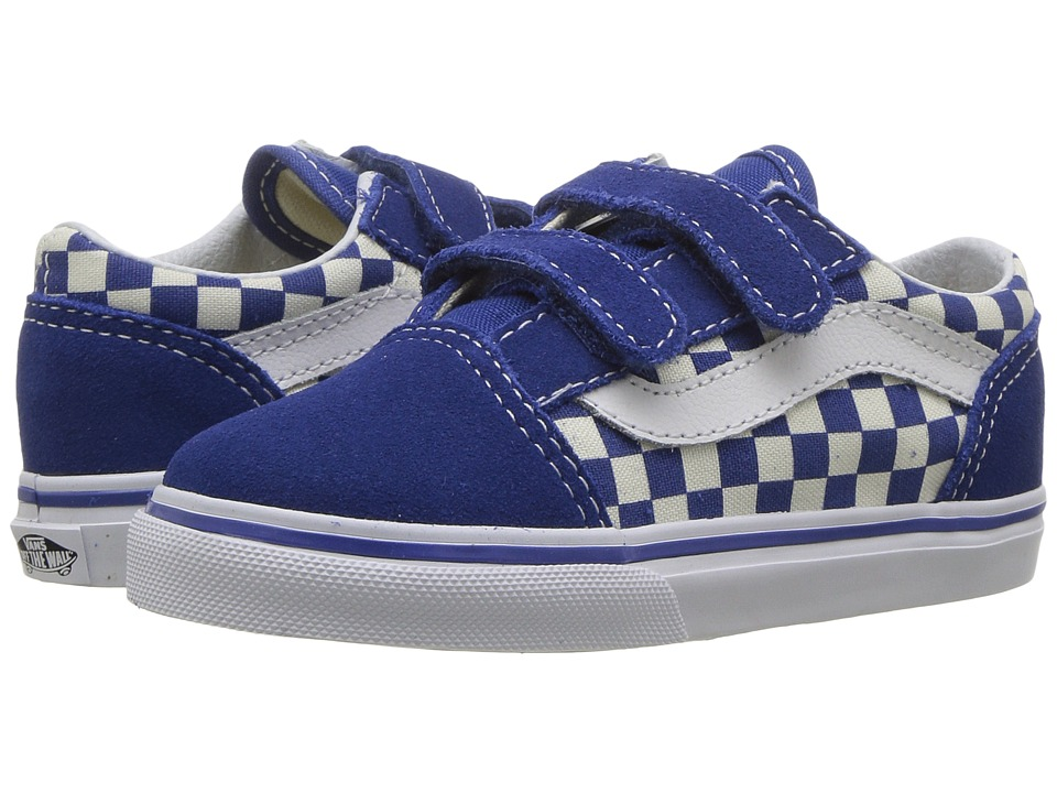 Vans Kids Old Skool V (Toddler) ((Primary Check) True Blue/White) Kid's Shoes