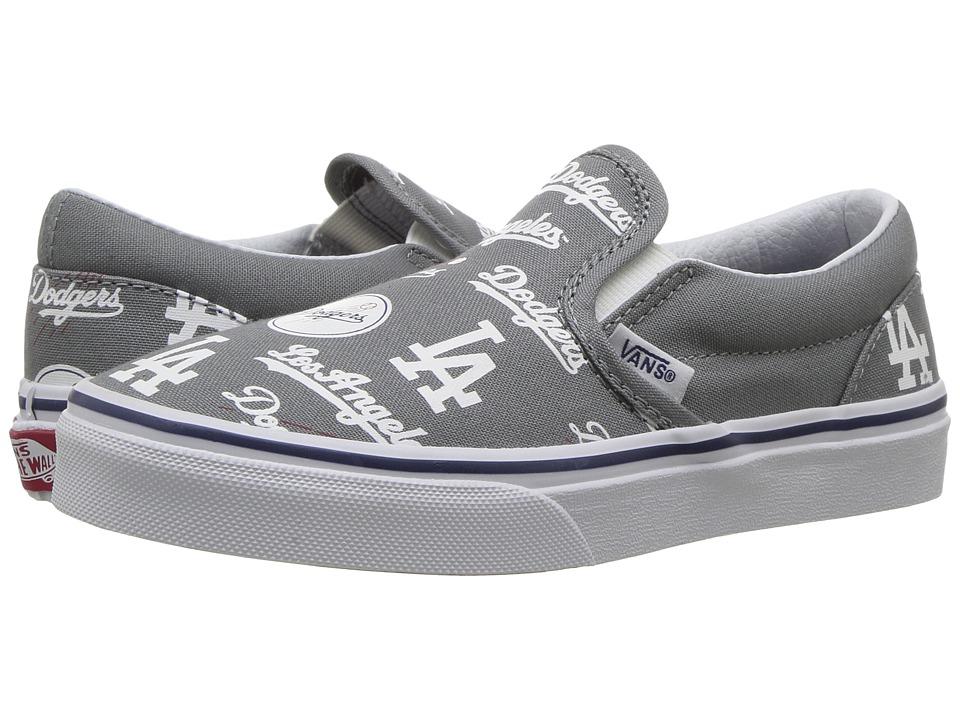 Vans Kids Classic Slip-On (Little Kid/Big Kid) ((MLB) Los Angeles/Dodgers/Gray) Kids Shoes