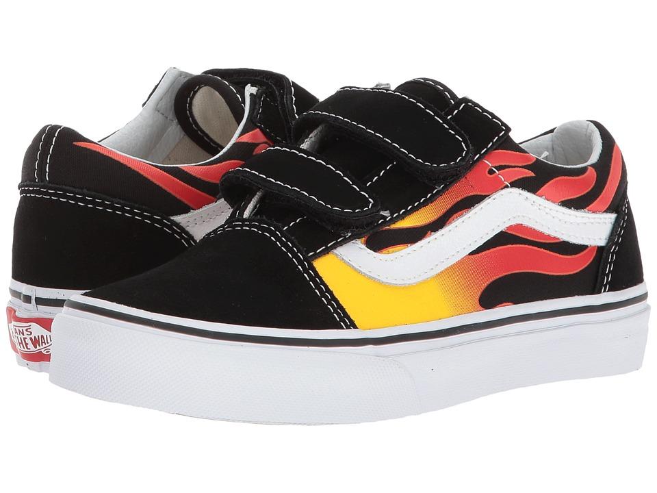 Vans Kids Old Skool V (Little Kid/Big Kid) ((Flame) Black/Black/True White) Kids Shoes