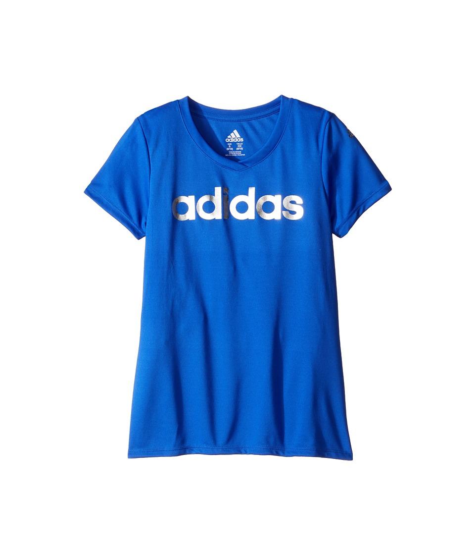 adidas Kids Graphic Tee (Big Kids) (Medium Blue) Girl