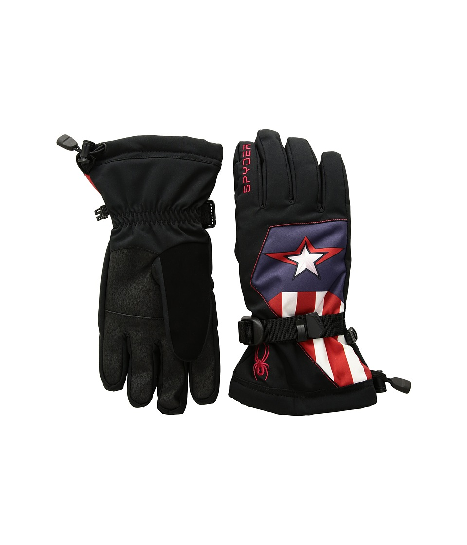 Spyder - Marvel Overweb Gloves (Little Kids/Big Kids) (Black/Captain America) Extreme Cold Weather Gloves