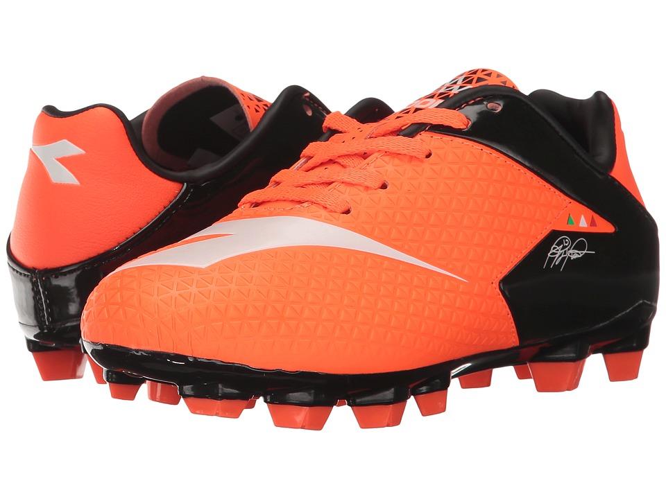 Diadora Kids MW-Tech RB R LPU JR Soccer (Little Kid/Big Kid) (Fluo Red/Black/Tropical White) Kids Shoes