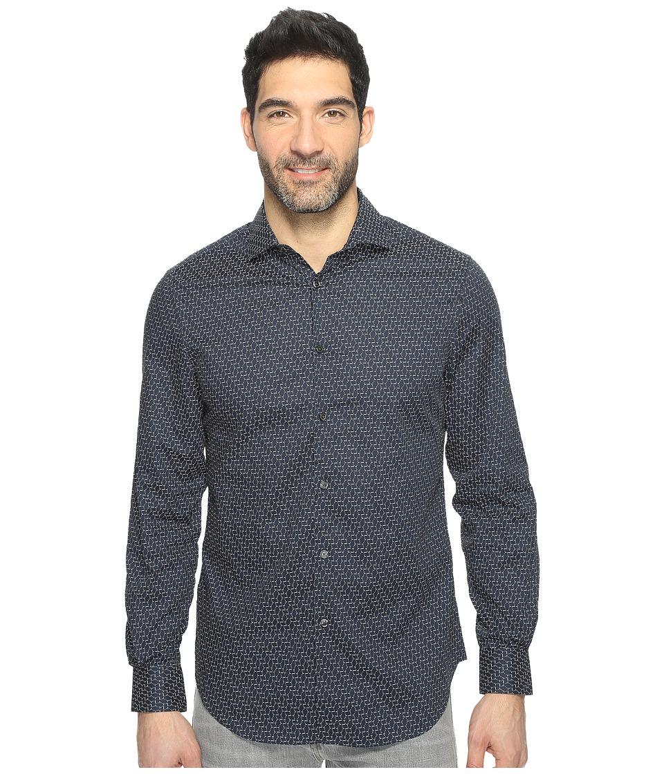 Perry Ellis Long Sleeve Modern Geo Print Shirt (Eclipse) Men