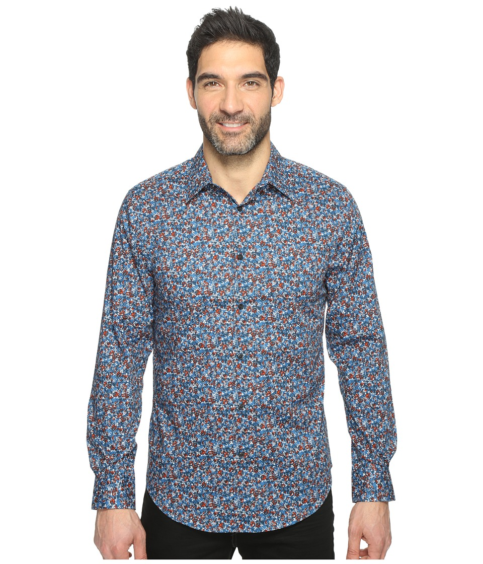Perry Ellis Long Sleeve Abstract Floral Print Shirt (Blue Wing Teal) Men