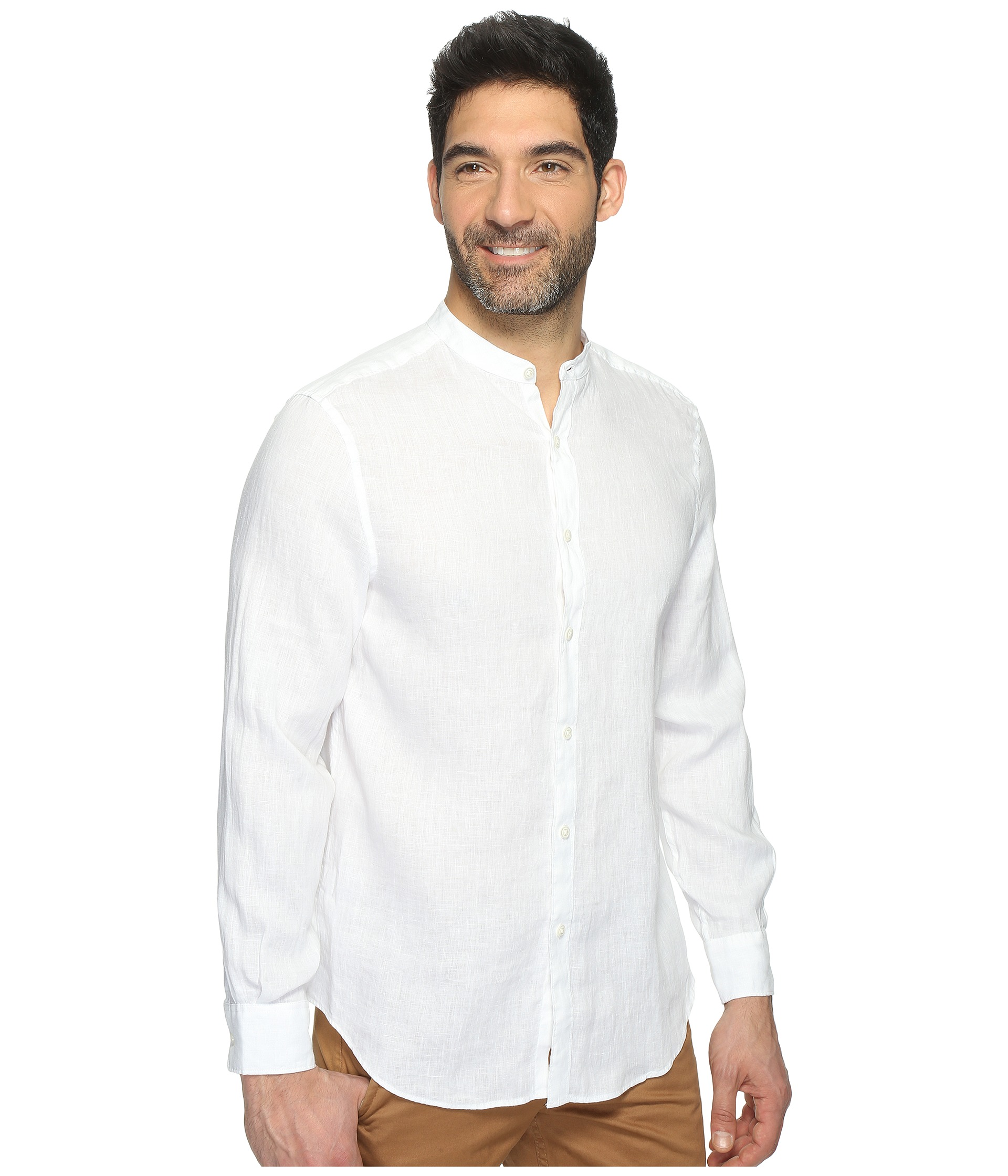 Perry Ellis Long Sleeve Solid Banded Collar Linen Shirt