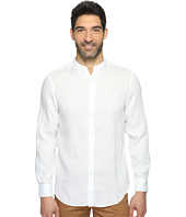 Perry Ellis - Long Sleeve Solid Banded Collar Linen Shirt
