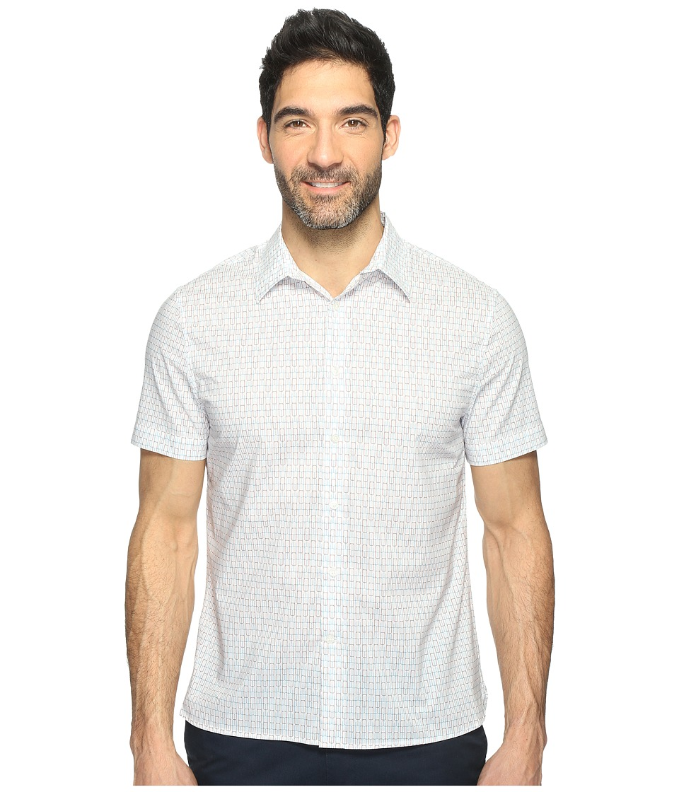 Perry Ellis Short Sleeve Modern Geo Print Shirt (Bright White) Men