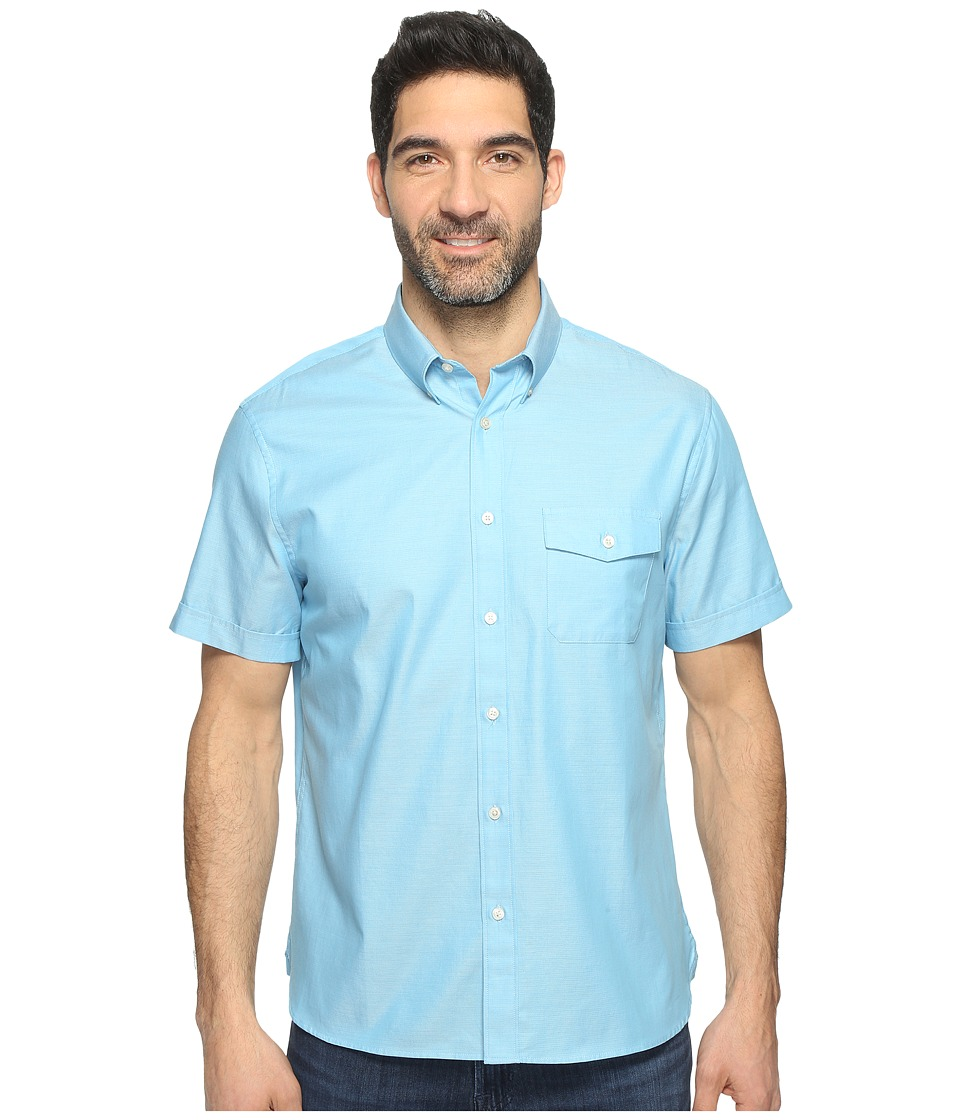 Perry Ellis Solid Textured Oxford Single Pocket Shirt (Centre Blue) Men