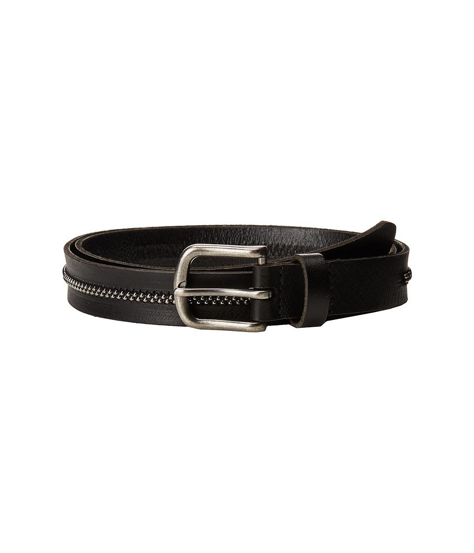 Scotch & Soda Leather Belt w/ Embossed Buckle (Black) Men