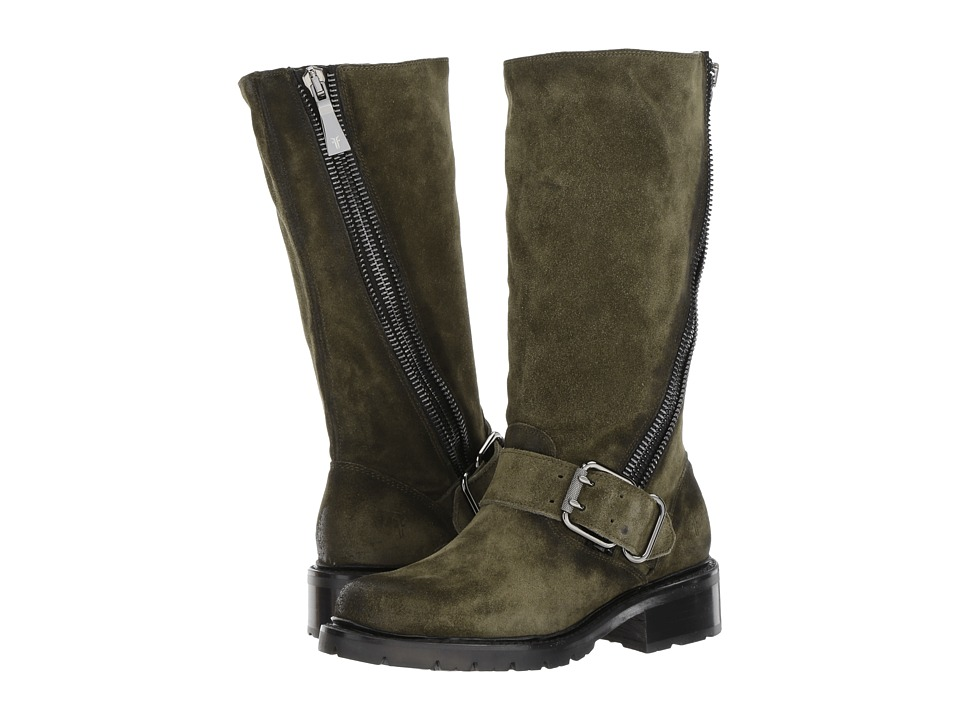Frye Samantha Zip Tall (Forest Soft Oiled Suede) Women