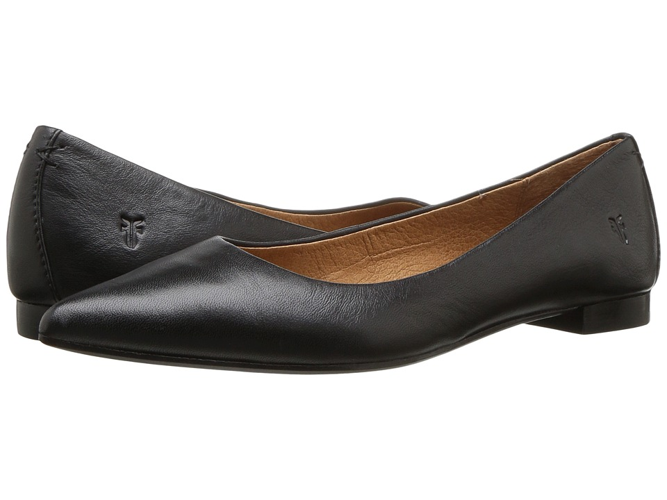 Frye Sienna Ballet (Black Polished Soft Full Grain) Flats
