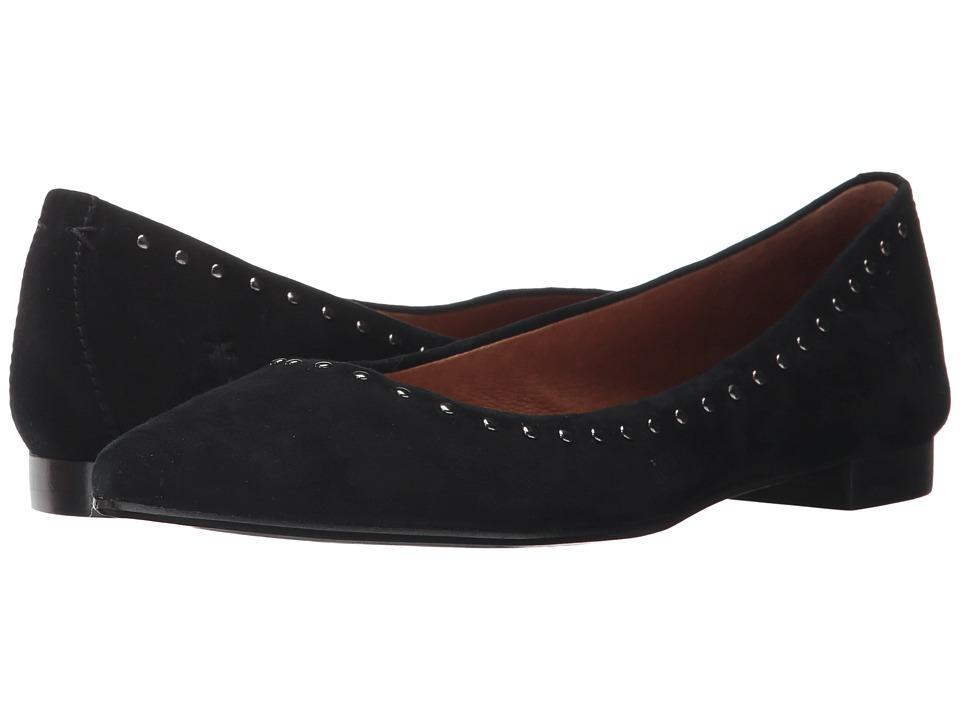 Frye - Sienna Micro Stud Ballet (Black Suede) Womens Slip on  Shoes
