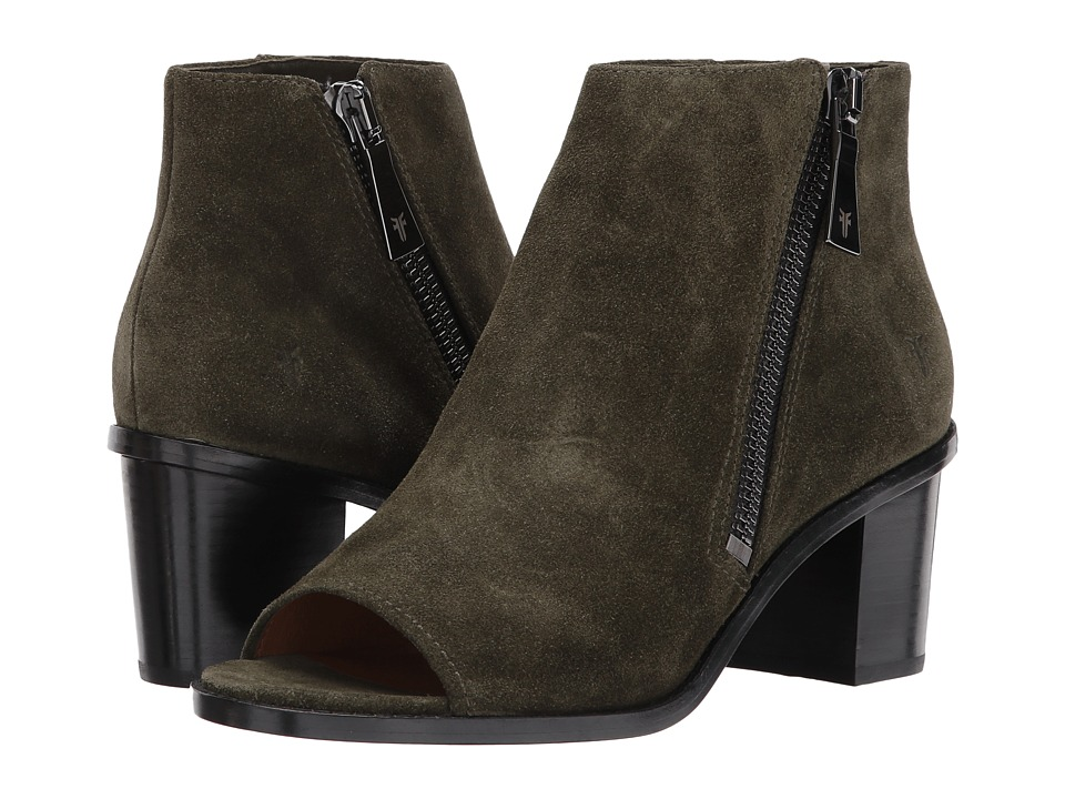 Frye Brielle Zip Peep Bootie (Forest Soft Oiled Suede) Women