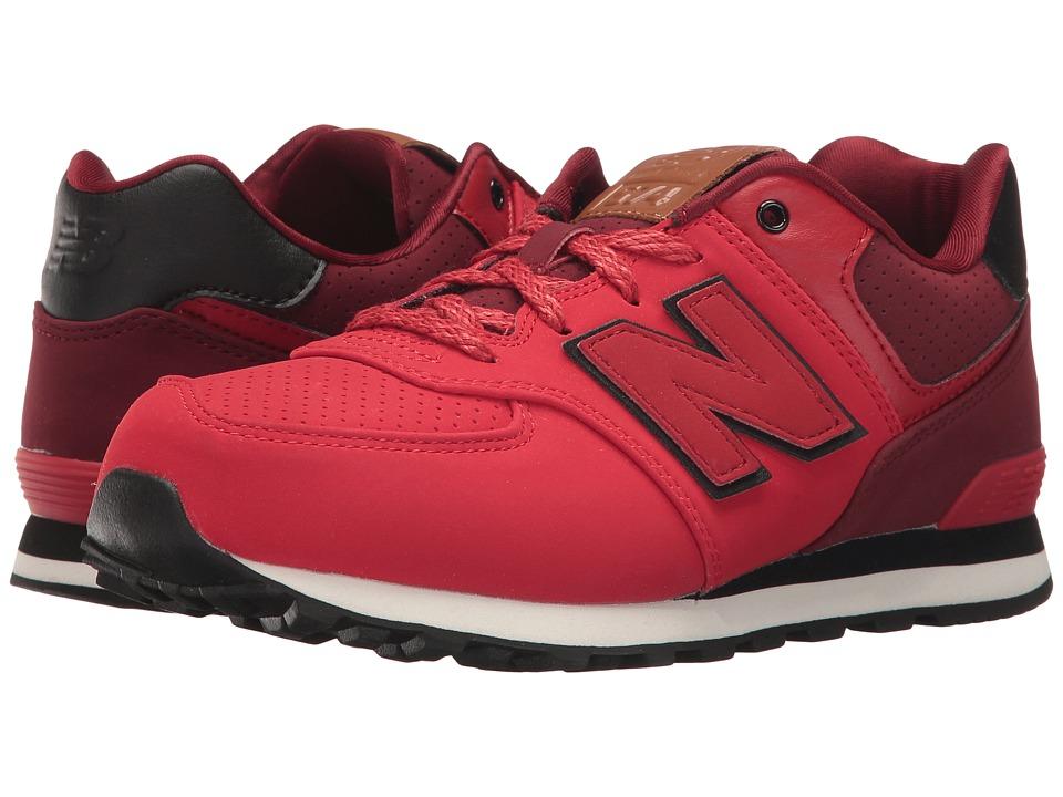 New Balance Kids KL574v1 (Big Kid) (Red/Black 2) Boys Shoes