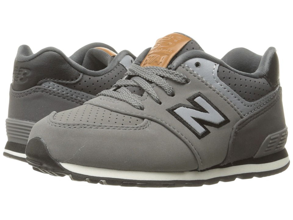 New Balance Kids KL574v1 (Big Kid) (Grey/Black) Boys Shoes