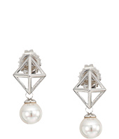 Majorica - 6mm Round Pearl and Pyramid Stud Accent on Sterling Silver Stud Earrings