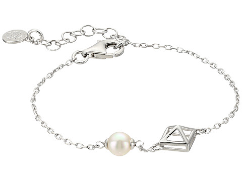 Majorica 6mm Round Pearl and Pyramid Stud Accent on Streling Silver Chain Bracelet - White