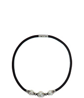 Majorica - 12/14mm Round Pearls on a Black Leather Necklace with Rhodium Plated Steel Push Lock 17