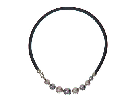 Majorica Leather Graduated Necklace - Gray