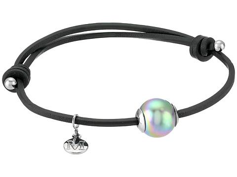 Majorica Adjustable Black Leather White Pearl Bracelet - Grey