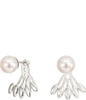 Majorica - 8mm Round Pearl with Feather Like Accent on Sterling Silver Ear Jacket Earrings