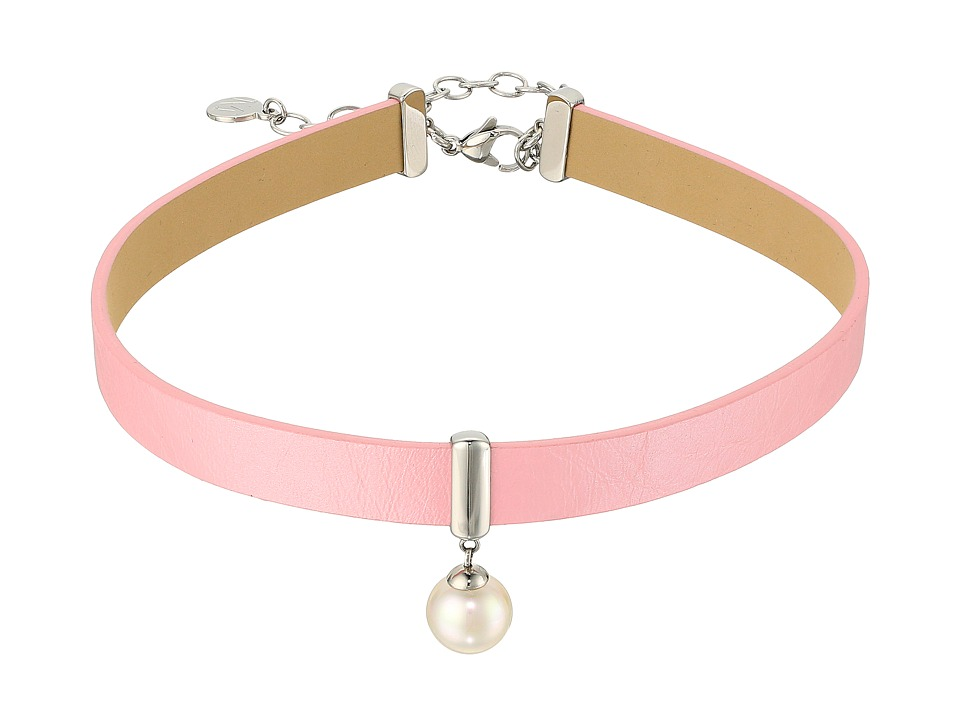 Majorica - 10mm Round Pearl and CZ on a Leather Choker Necklace 14