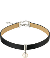 Majorica - 10mm Round Pearl and CZ on a Leather Choker Necklace 14-16