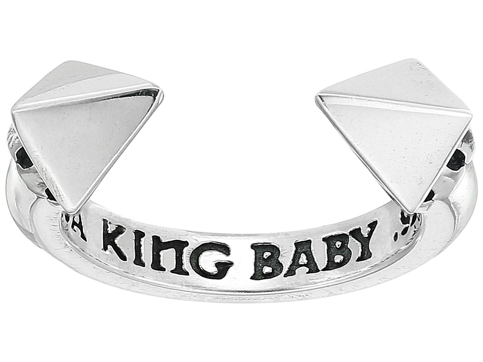 King Baby Open Ring w/ Pyramids (Silver) Ring