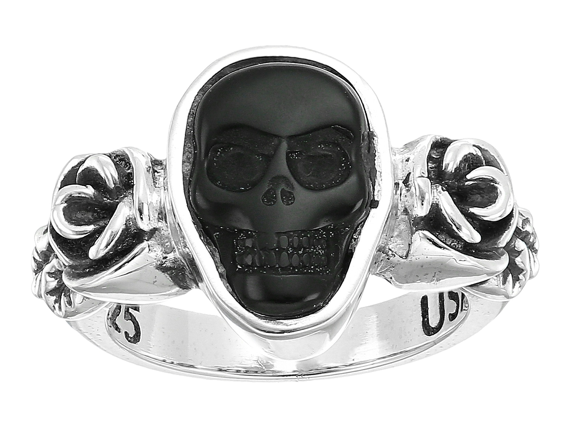 King baby studio obsidian skull rose ring at for King baby jewelry sale